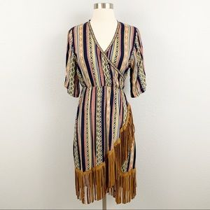 Blush Boutique Bohemian Tribal Print Fringe Dress
